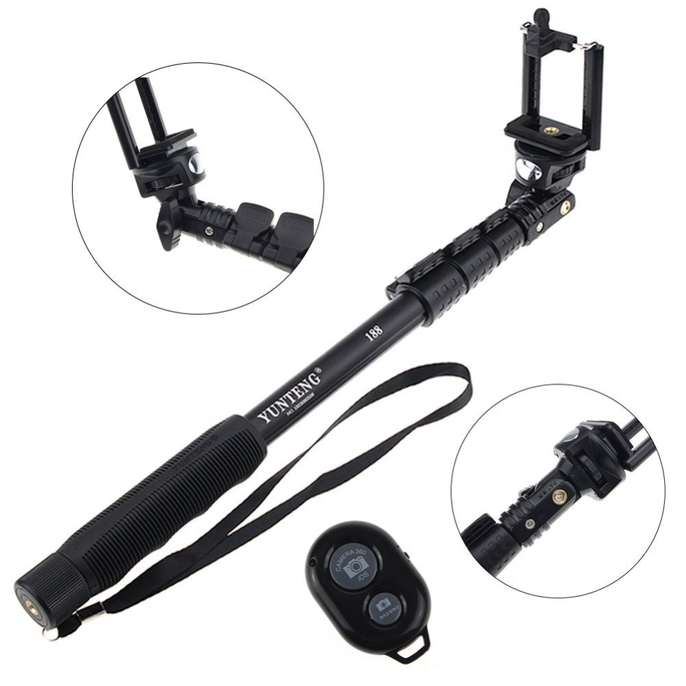 3 in 1 yunteng 188 selfie stick with bluetooth remote self control wireless m. Black Bedroom Furniture Sets. Home Design Ideas